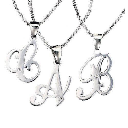 Silvertone necklace with sterling silver initial pendant with a silvertone necklace with sterling silver initial pendant with a genuine diamond accent chain is 17 aloadofball Choice Image