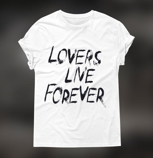 """White t-shirt with """"Lovers Live Forever"""" print. Click to see bigger picture."""