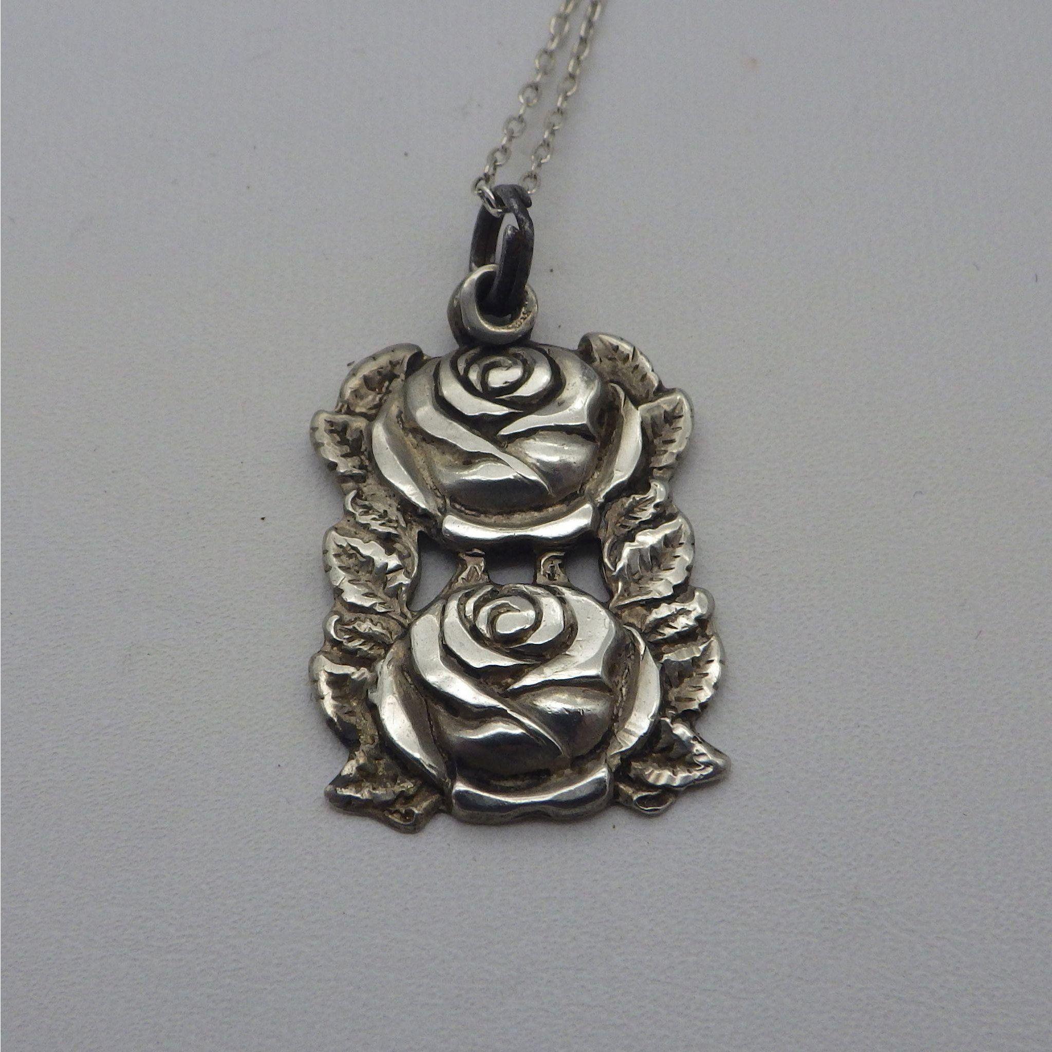 Vintage sterling catholic rose four way medal pendant necklace