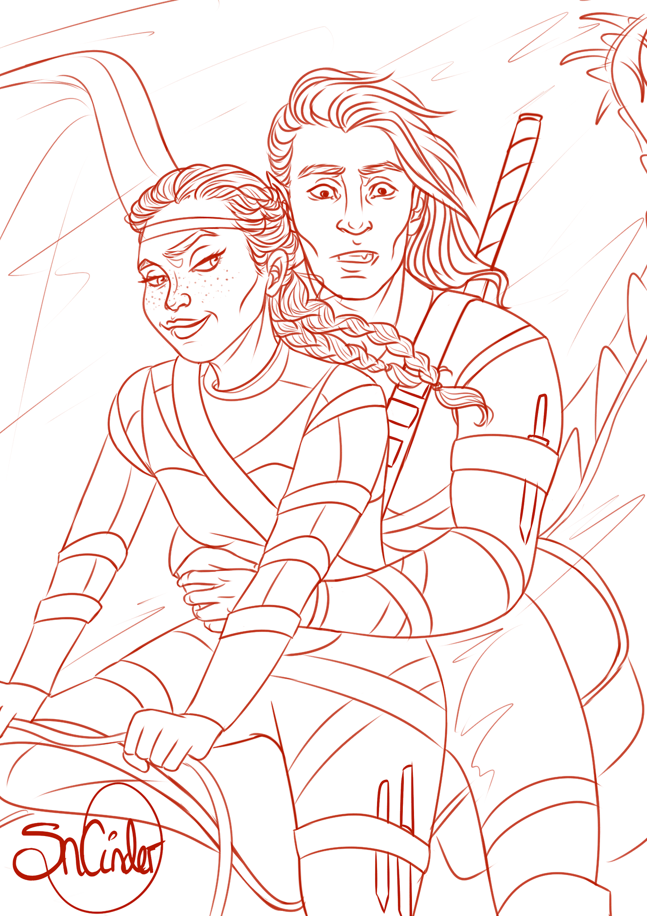 Asterin and Gavriel riding on her pale blue wyvern... - SnCinder