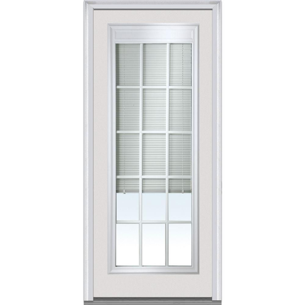 Milliken Millwork 32 In. X 80 In. Internal Mini Blinds Clear Glass Full  Lite Primed Fiberglass Smooth Prehung Front Door With Muntins, Primed White