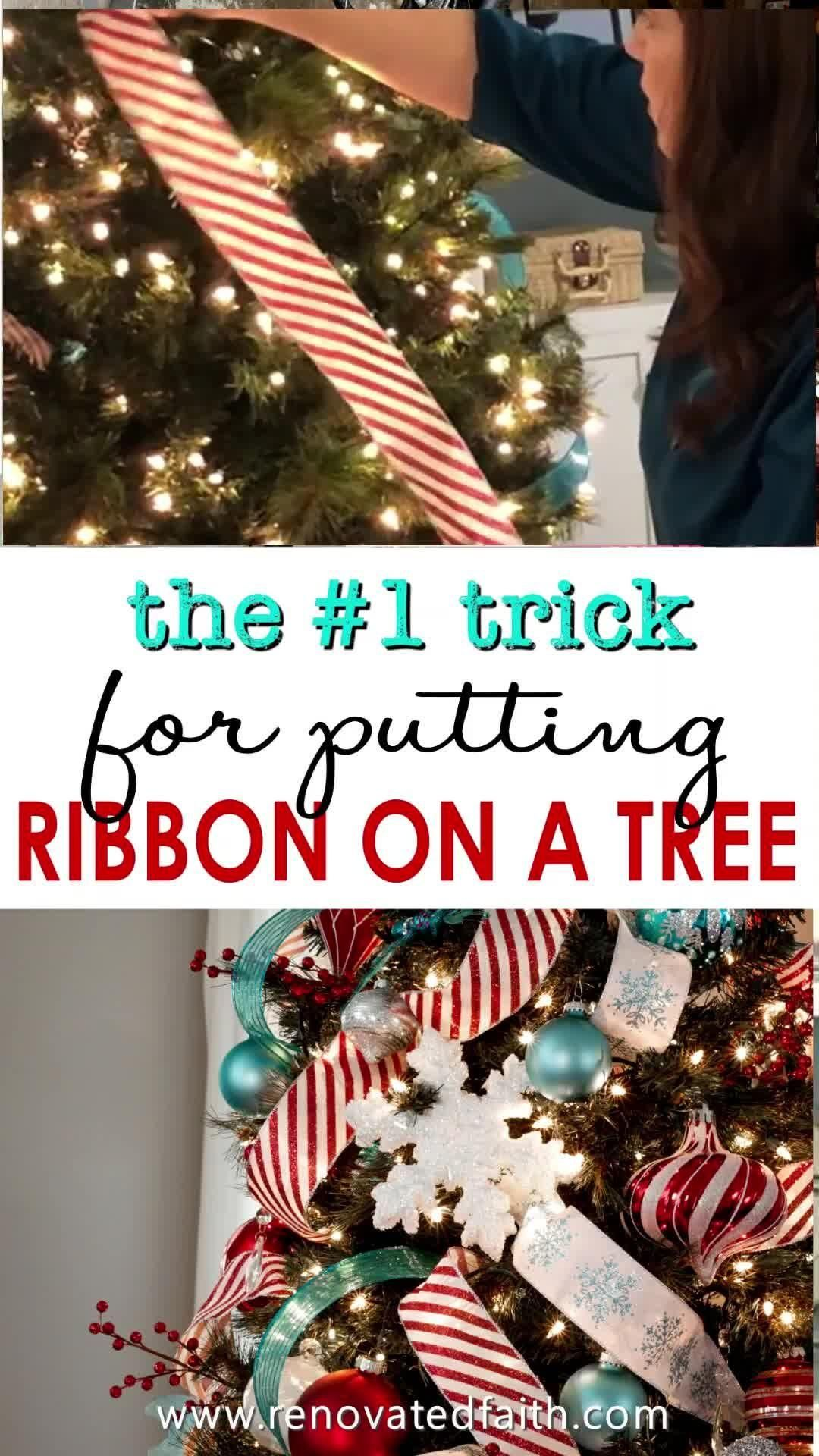 How To Add Ribbon To A Christmas Tree Christmas Tree Ribbon Topper Video Video In 2020 Ribbon On Christmas Tree Christmas Tree Christmas Tree Garland