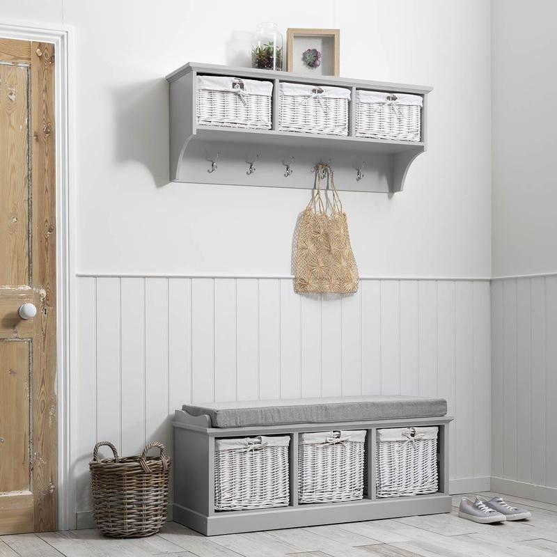Fyfield Hallway Shoe Storage Bench With, Fyfield Coat Rack With Shelf Storage Baskets White