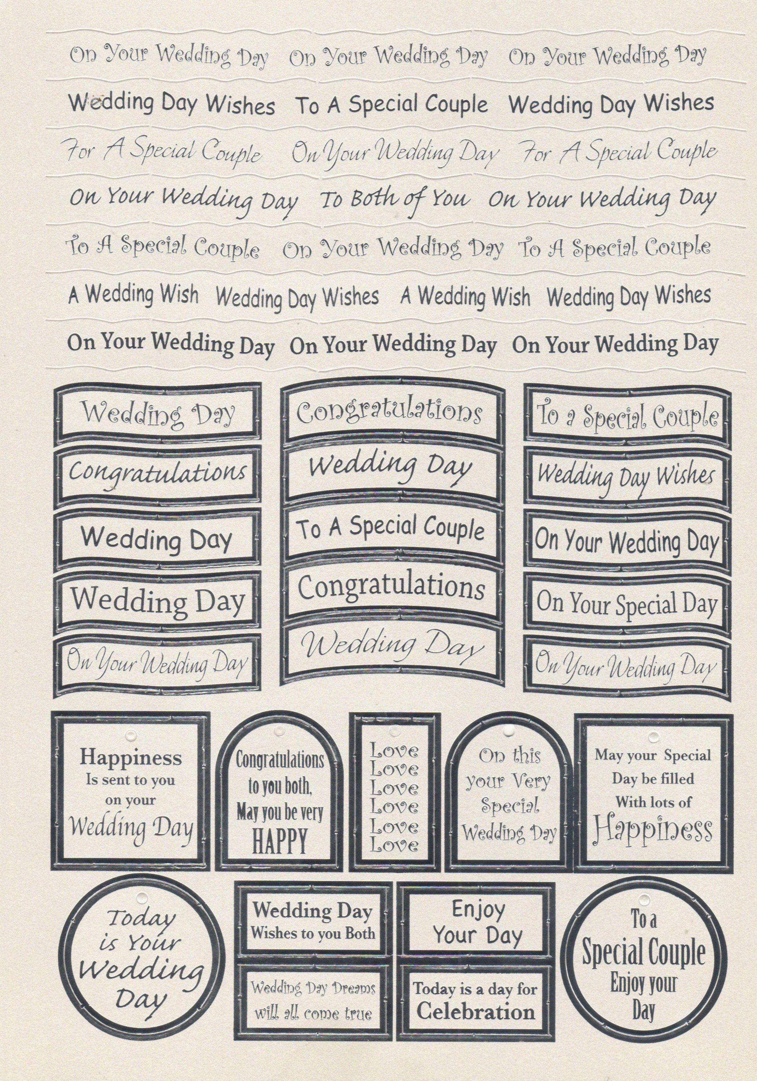 wedding caption sheet die cut decoupage sheets pinterest