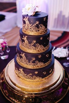 royal purple and gold wedding cake purple gold silver wedding decor indian american 19409