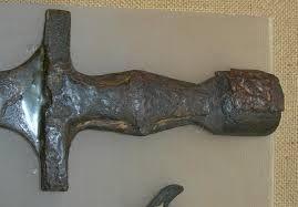 Hilt of the ancient Greek bronze xiphos of Italian ... Bronze Greek Xiphos Sword For Sale