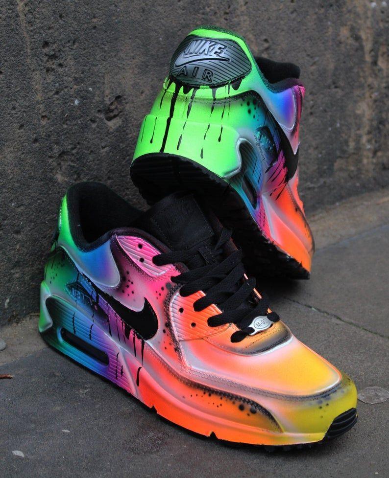 Custom Nike Air Max 90 Fluo Flash Airbrush Sneaker | Etsy | Neon ...