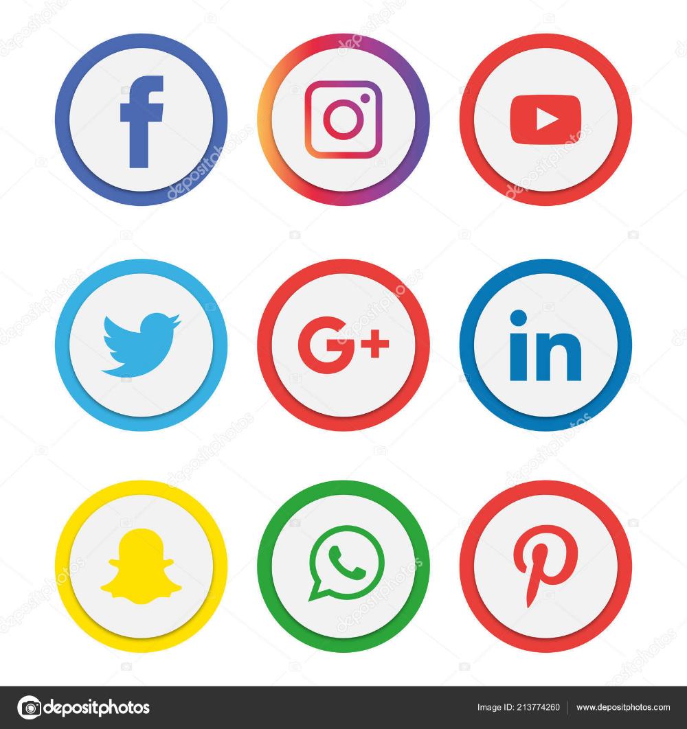 Baixar Conjunto De Icones De Midias Sociais Logo Vetor Illustrator Facebook Instagram Whatsapp Icones Redes Sociais Midias Sociais Icones De Midia Social