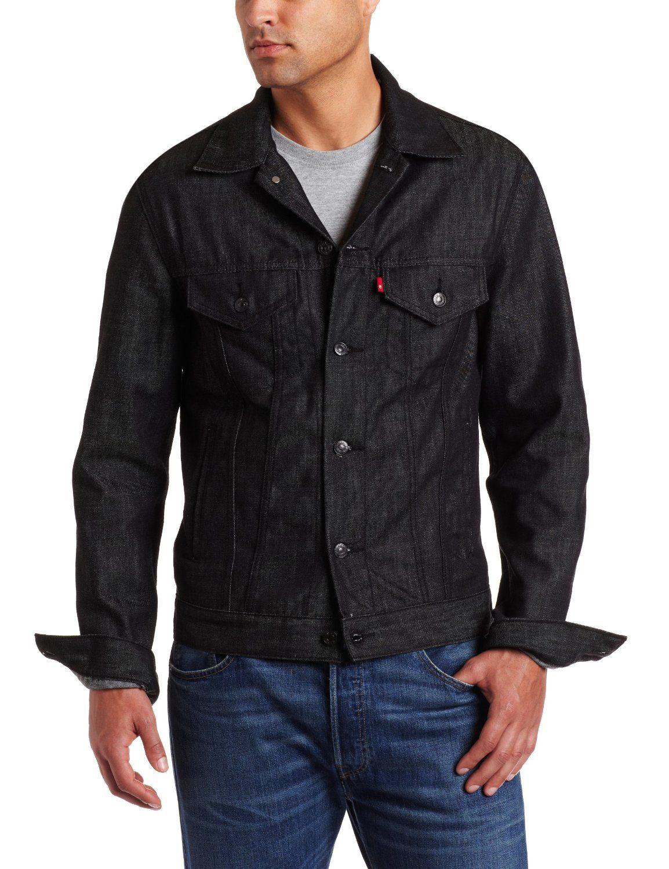 Levis black denim trucker. Workout jacket, Jackets