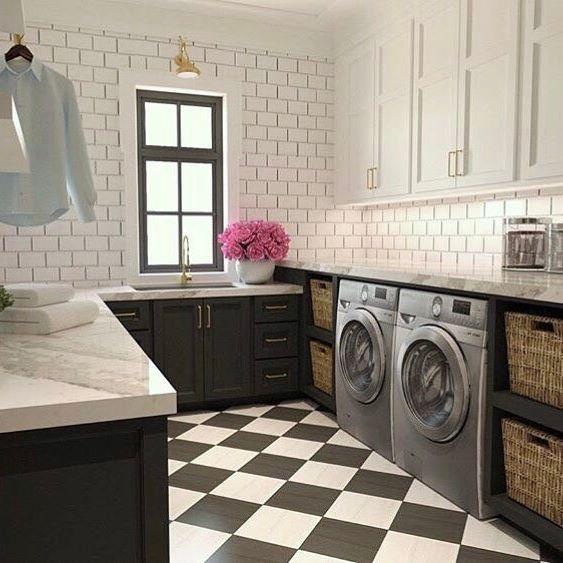 Beautifully Designed White And Black Laundry Room Features