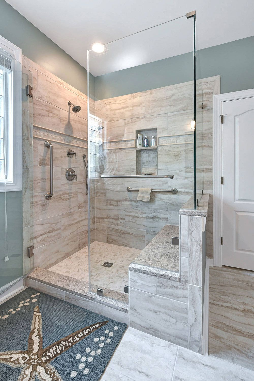52 Walk In Shower Design Step In Large Doorless Showers In 2021 Farmhouse Master Bathroom Bathroom Styling Bathroom Remodel Shower