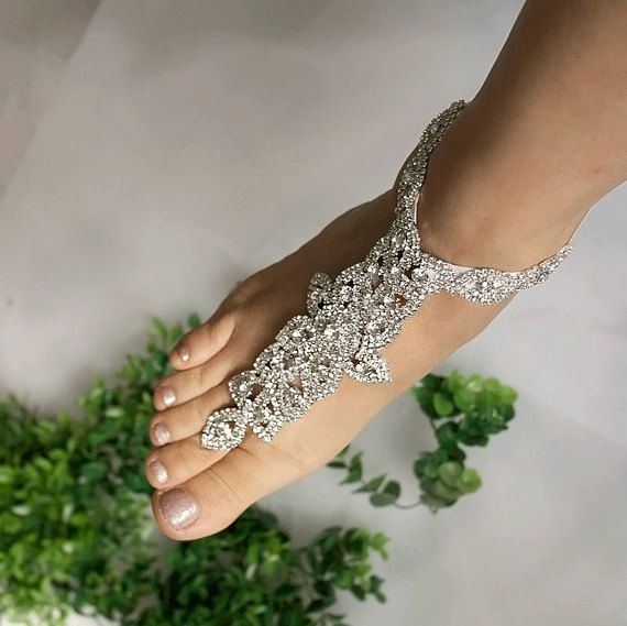 Wedding Rose Gold Barefoot Sandals Bridal Foot Jewelry Rhinestone