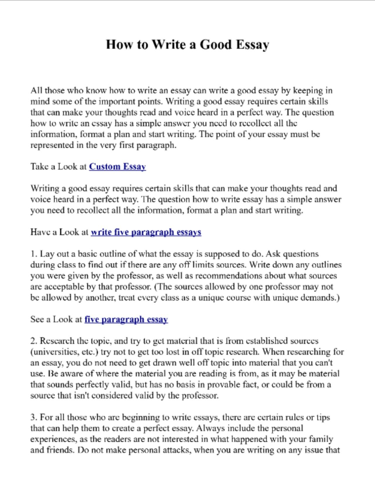 How To Write Good Essay