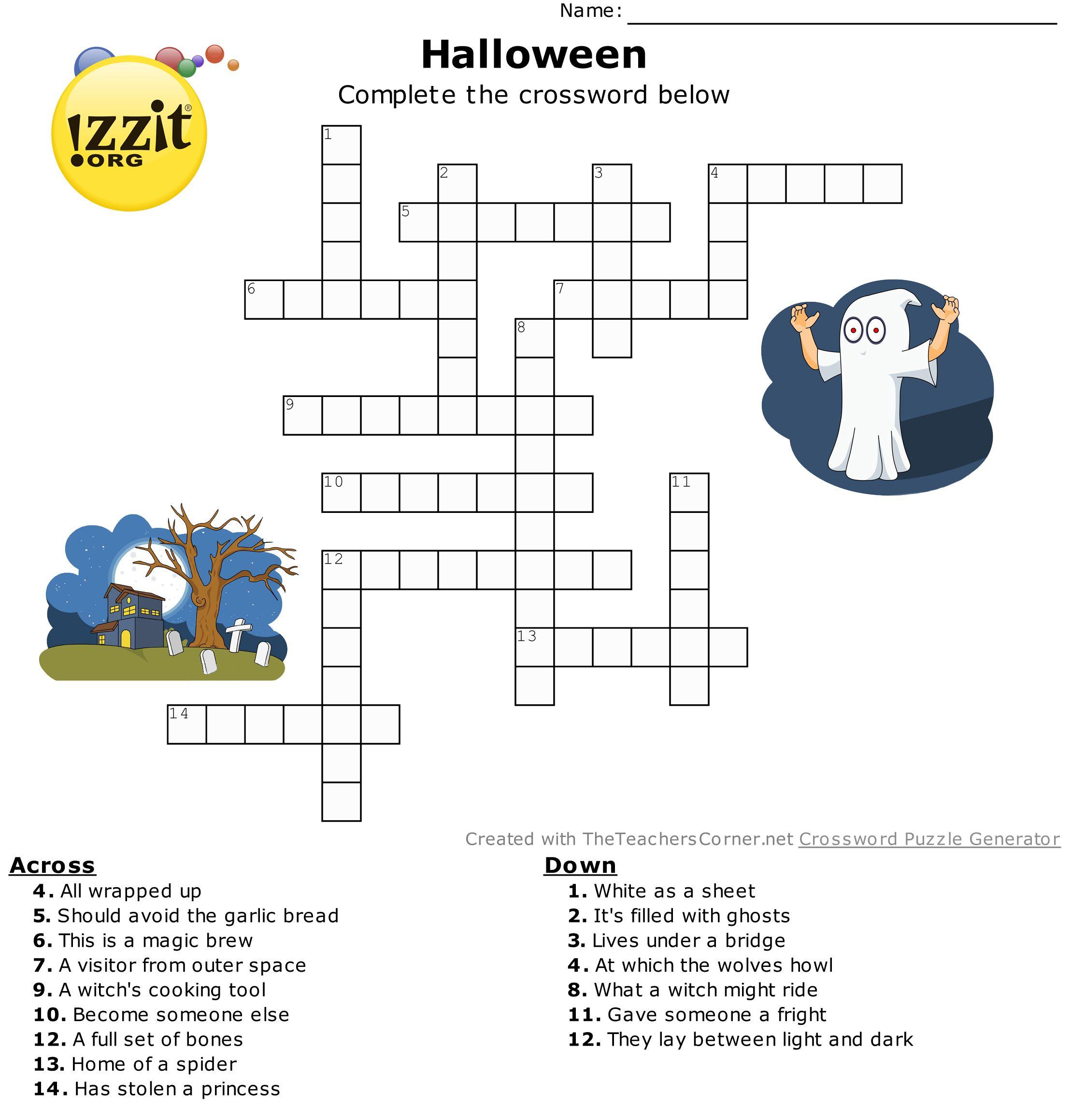 Halloween Crossword - Hard #HappyHalloween 💀👻🎃   Classroom ...