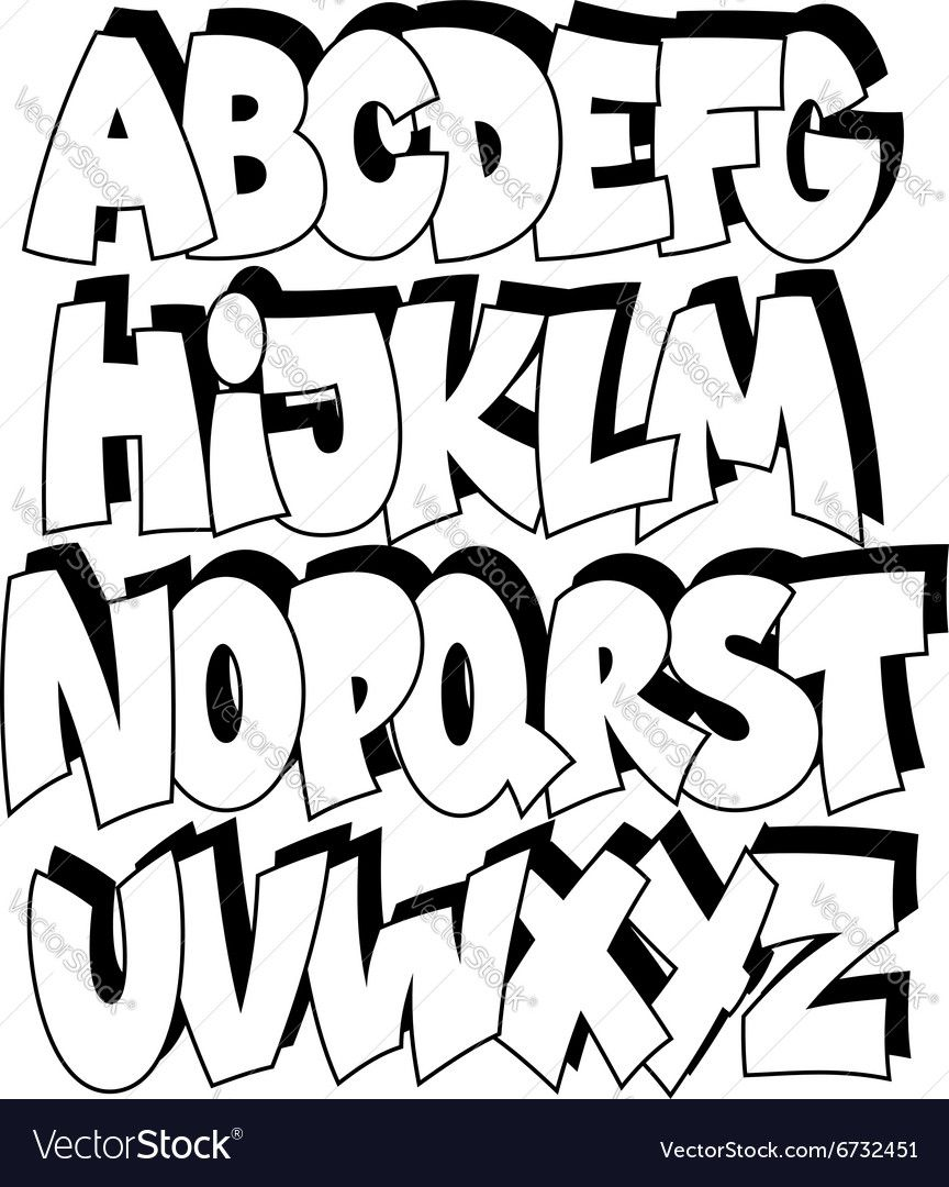 Letras De Graffiti Cartoon Comic Schriftart Alphabet Vektor Stockvektor