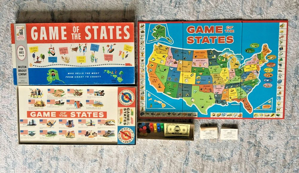 Game Of The States Vintage Milton Bradley Board Game 1960
