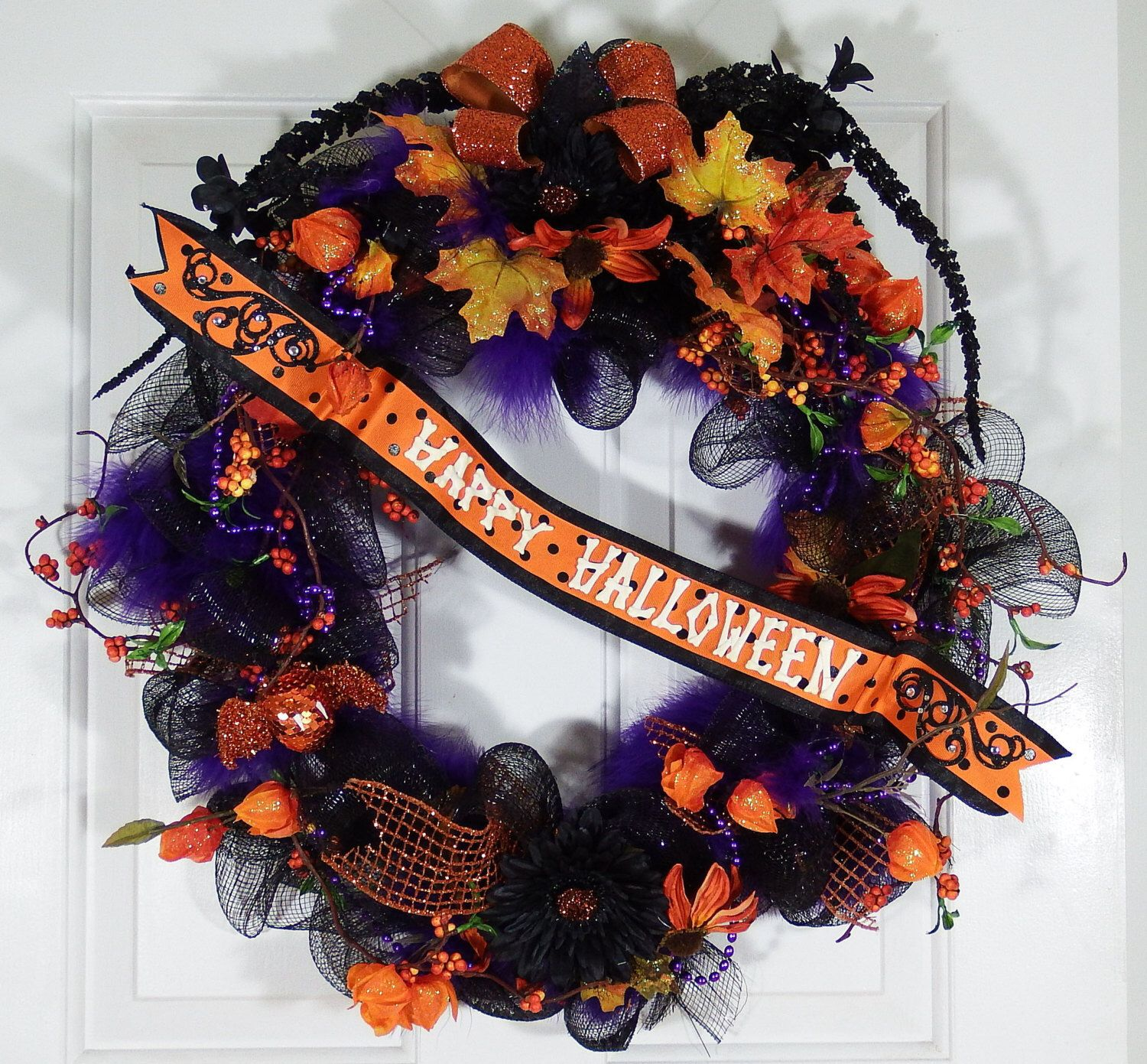 Happy Halloween Wreath By Designsonholidays On Etsy Httpswwwetsycom