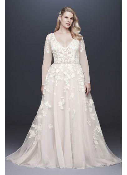 efdab351 Illusion Sleeve Plunging Plus Size Wedding Dress Style 9SWG820 ...