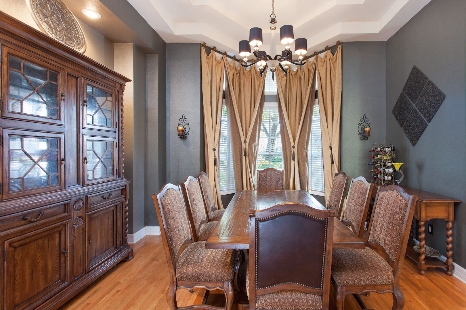 Dining Room With Rich, Rustic Furniture