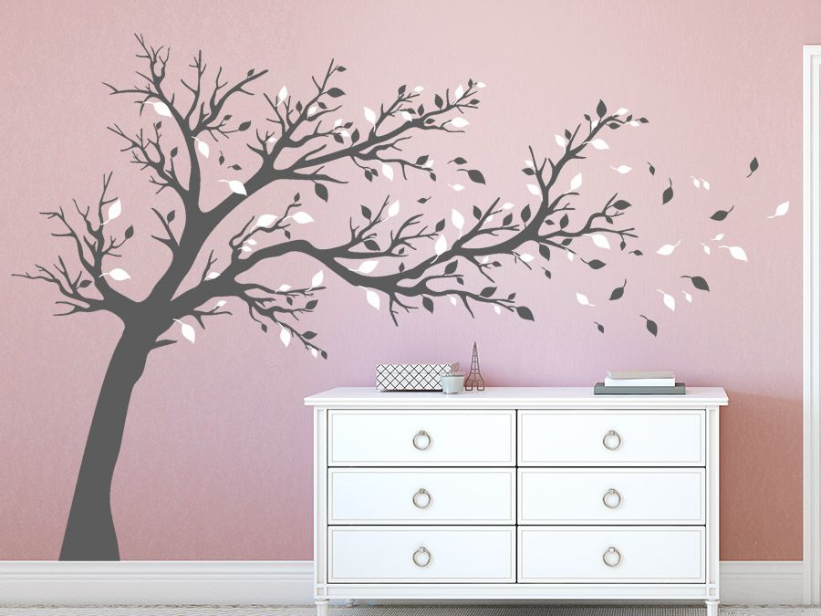 gro er baum zweifarbig baum wandtattoo farbige w nde. Black Bedroom Furniture Sets. Home Design Ideas