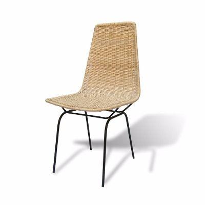 silla de hierro y mimbre modelo retro