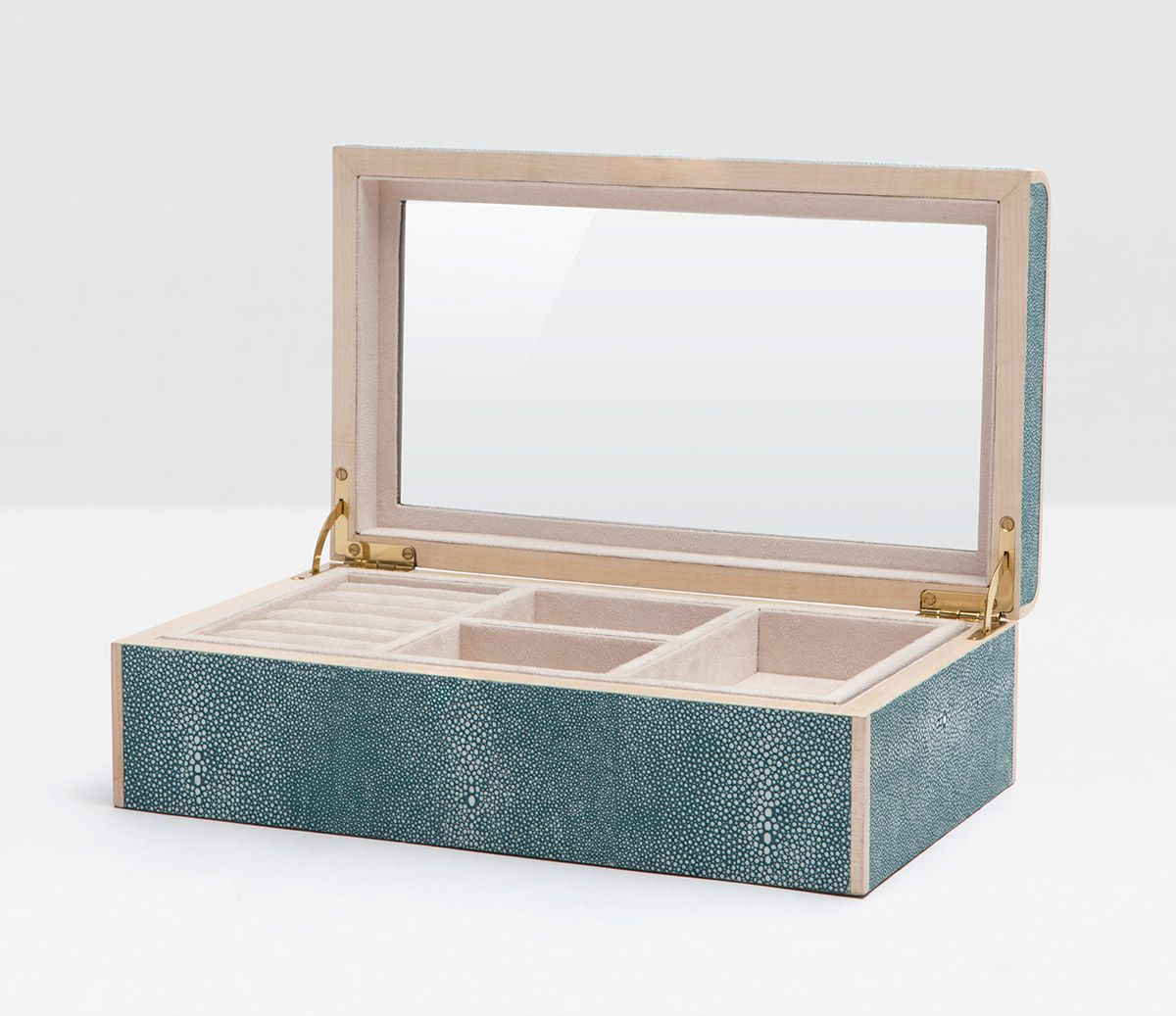 Pigeon Poodle Rennes Large Jewelry Box in Turquoise Faux Shagreen