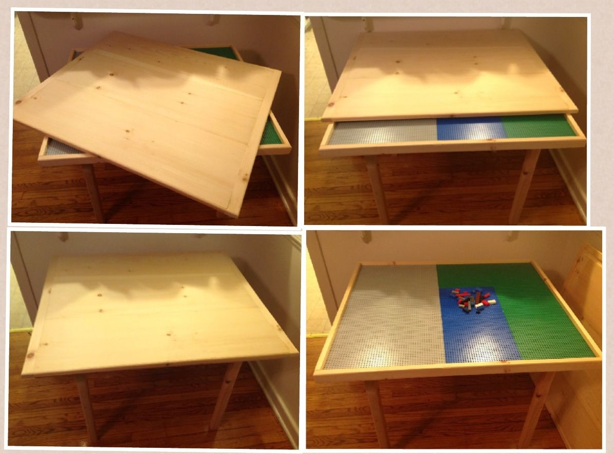 Diy Lego Table 3 4 Pine 3 4 Plywood 1 2x4x 10 Wood Glue 8 Wood Screws And The Lego Sheets Of Your Ch Lego Table Diy Lego Table With Storage Lego Table