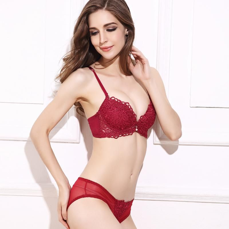 ad978a5b6 BEFORW Women Sexy Bra Set Floral Embroidery Adjusted Push Up Bra Set Thick  Underwear Women Padded