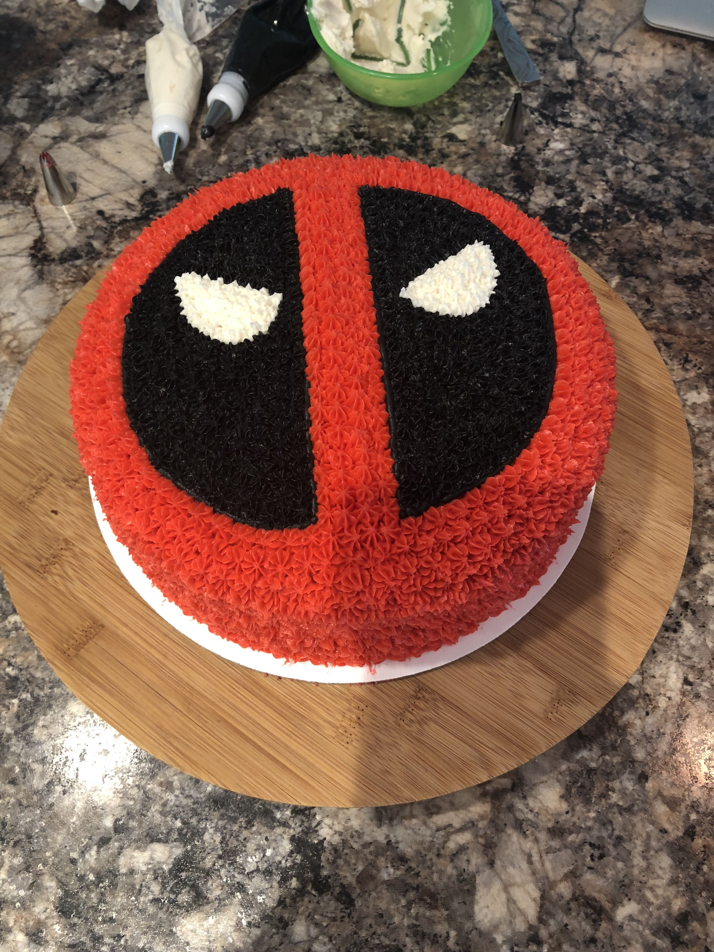 Chocolate Deadpool Cake With Buttercream Frosting Deadpool Cake