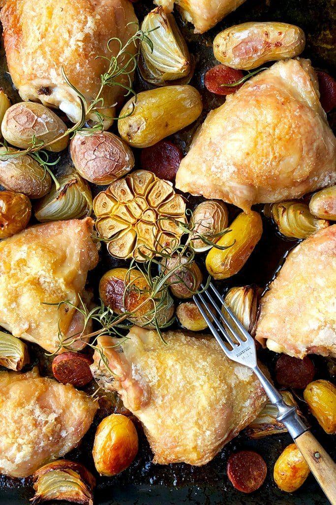 Chicken Thigh and Chorizo Tray Bake with New Potatoes