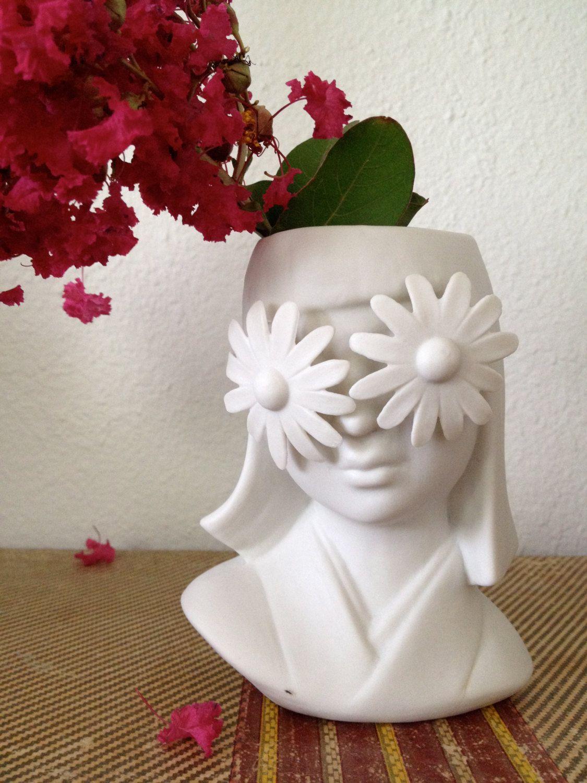 Art Deco Inspired Porcelain Double Daisy Flower Girl Head Vase