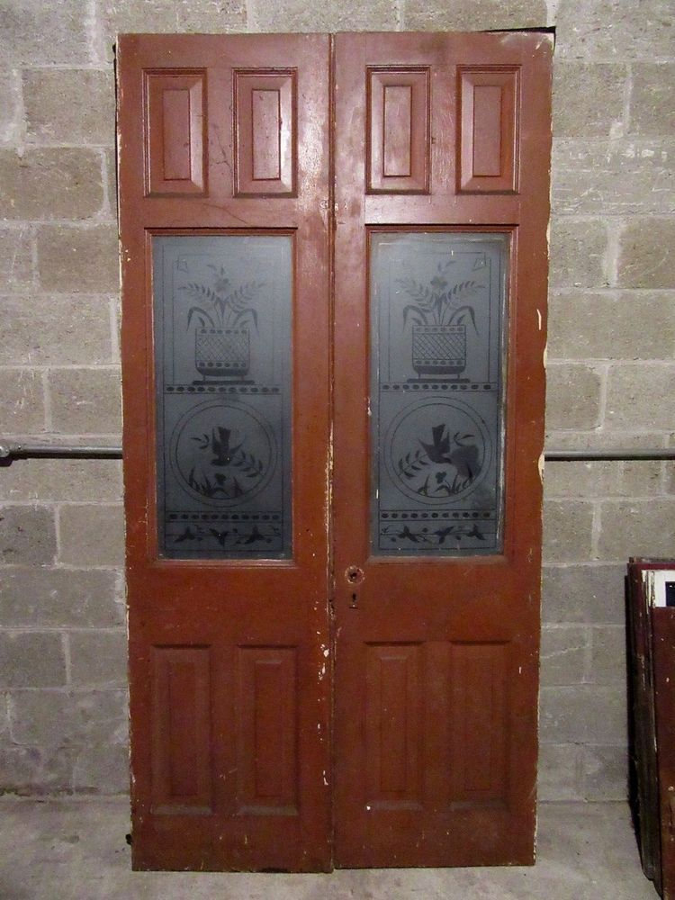Details about ANTIQUE ETCHED GLASS DOUBLE FRENCH DOORS
