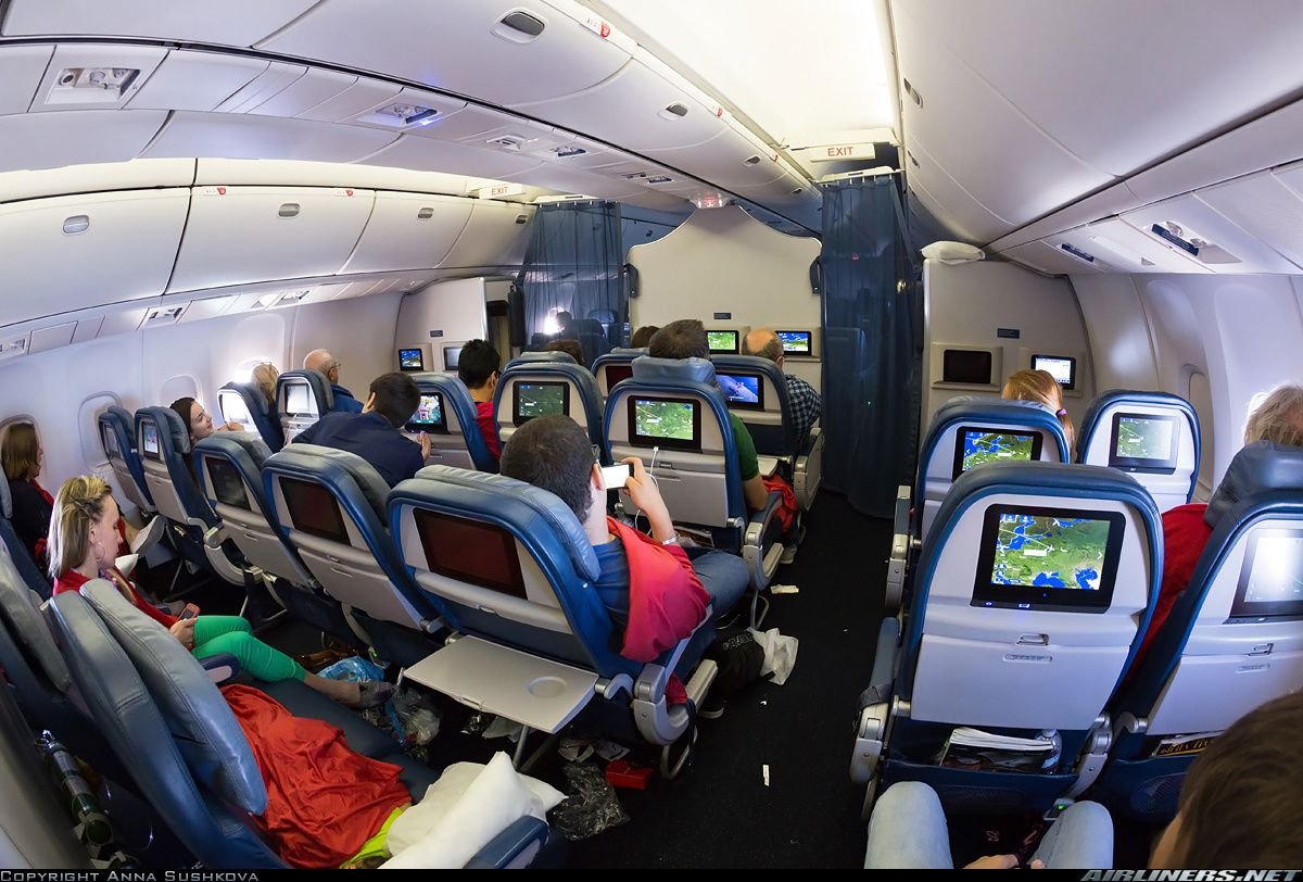 Delta Airlines Boeing 767 332 Er Refurbished Economy Class Cabin