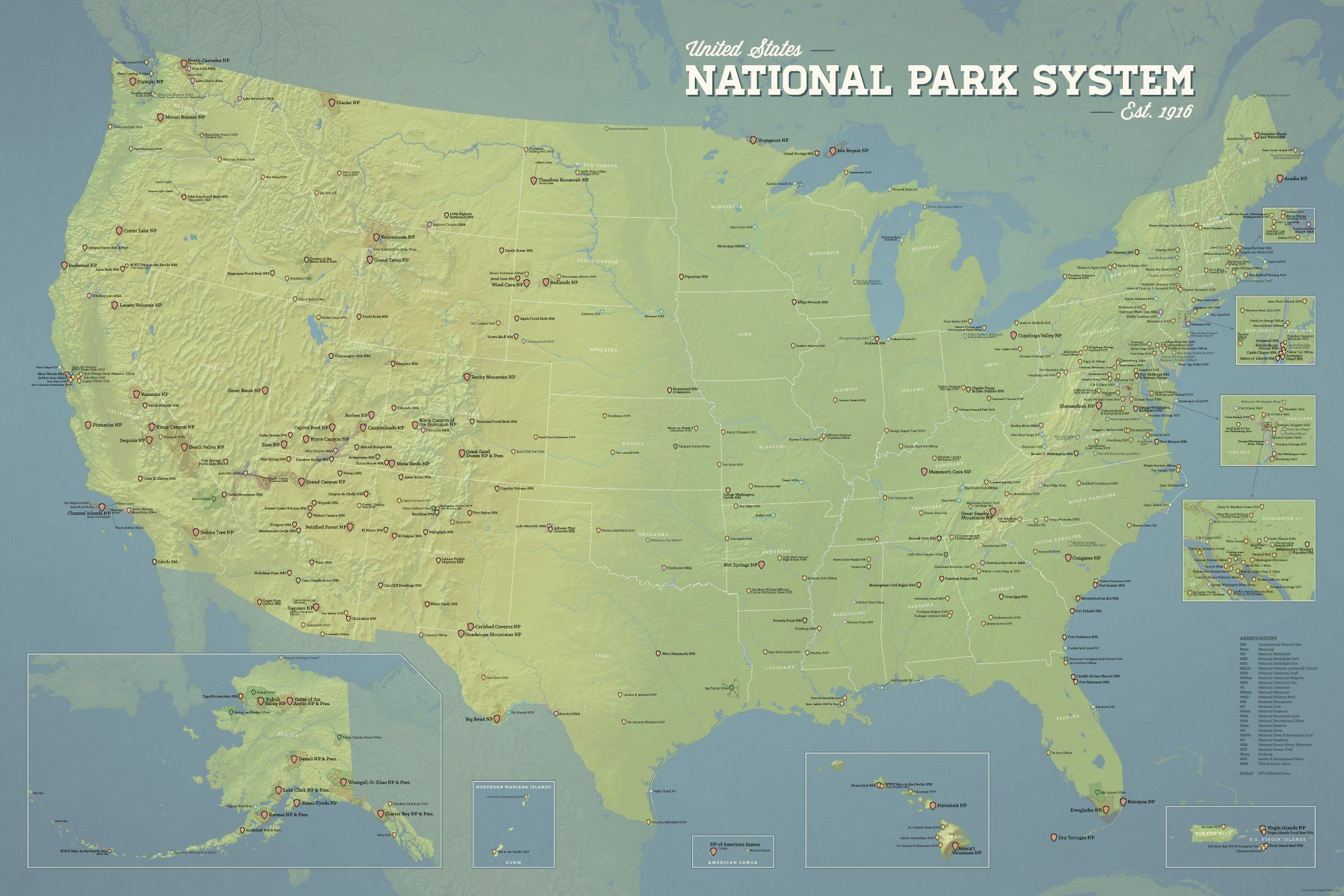 USA National Park System Units Map Poster
