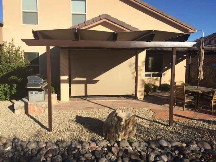 Steel Construct Ramada Style Patio Cover Wind And Solar Screening In Buckskin For The Deck By Santa Fe Awning Residential Awnings Outdoor Living Areas Patio