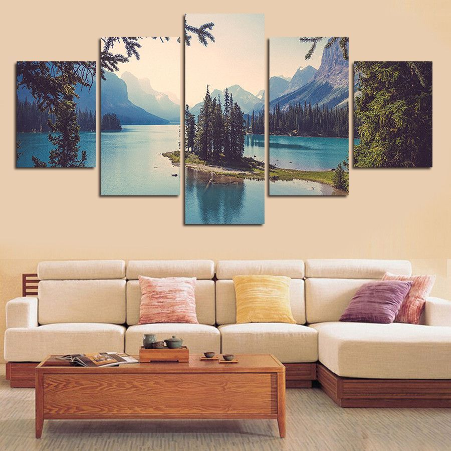Long tail boat and the lake panel wall art panel art and canvases