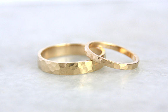 Hammered Gold Wedding Rings 14k Gold Ring Set Eco Friendly