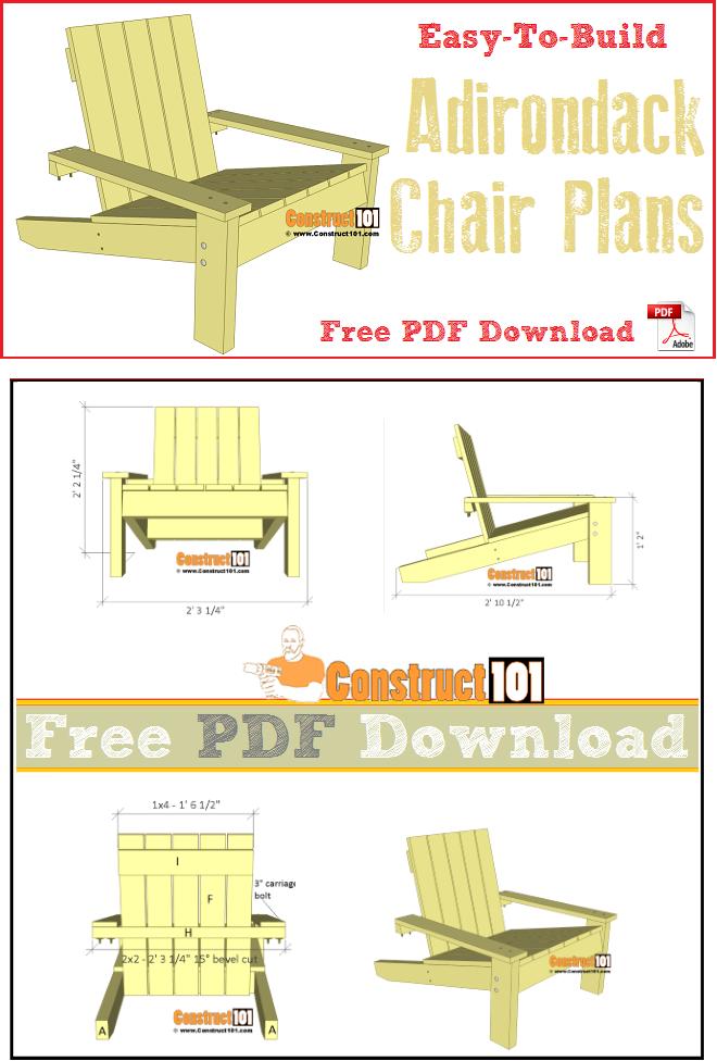 Simple Adirondack Chair Plans Pdf Download Construct101 In 2020 Adirondack Chair Plans Free Adirondack Chairs Diy Adirondack Chair Plans