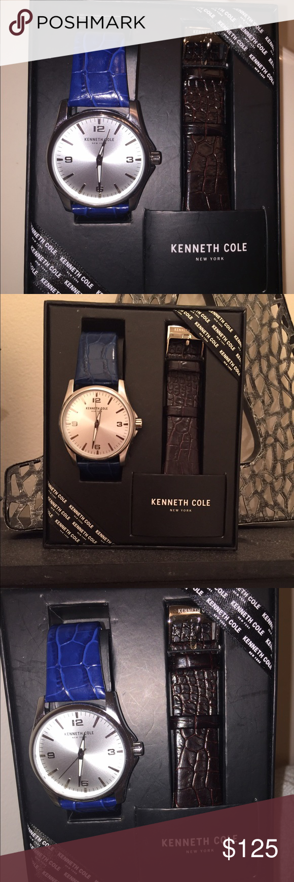 NWT Men's Watch ⌚️ Kenneth Cole brand new men's watch with blue and brown interchangeable straps. Beautiful! Never worn, Brand new Kenneth Cole Other
