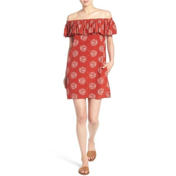 Women's Madewell Off The Shoulder Silk Dress ($100) ❤ liked on Polyvore featuring dresses, kilt red, red shift dress, madewell, red floral dress, red off the shoulder dress and silk floral dress