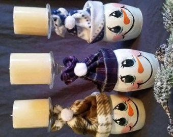 Snowman Christmas Wine Glass Candle Holder Christmas