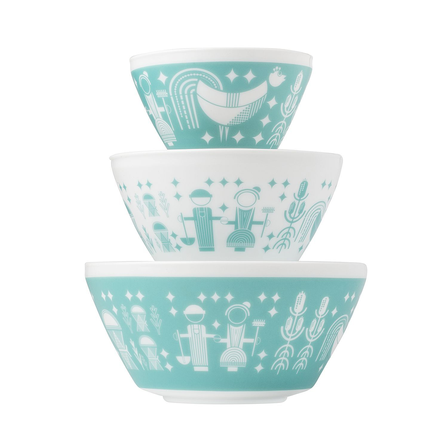 Vintage Charm™ Rise N\' Shine 3-Pc Mixing Bowl Set, inspired by Pyrex ...