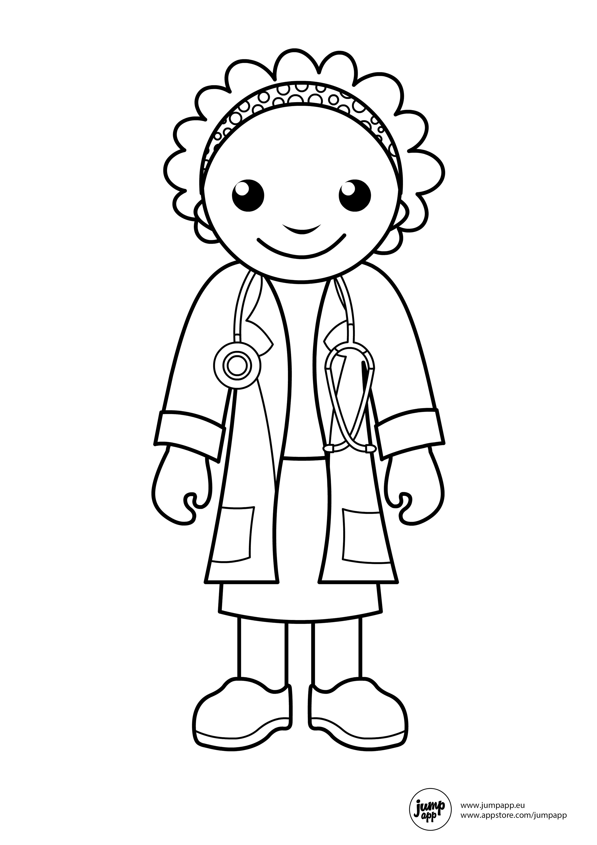 Doctor Coloring Pages Community Helpers Theme Community Workers