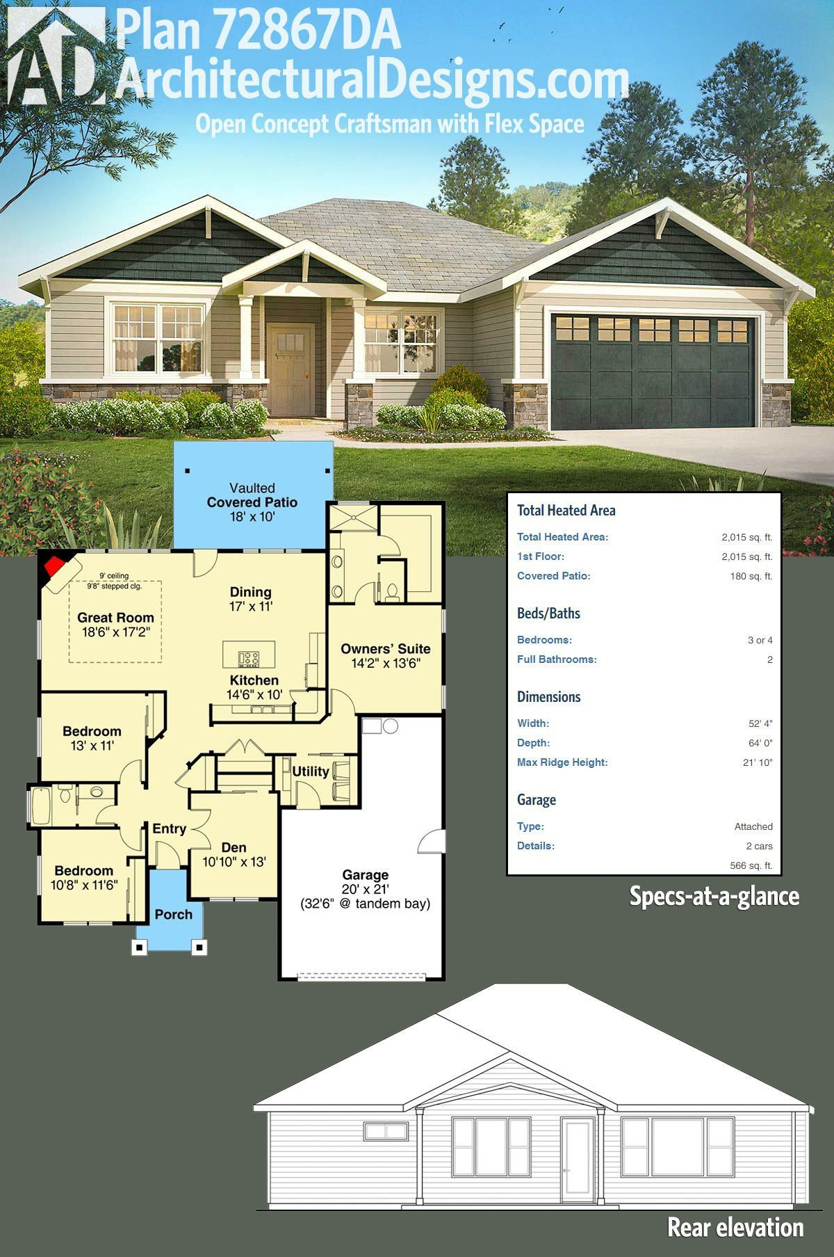 1300 Square Foot House Plans With Garage Best Of Plan Da Open Concept Craftsman With Flex S Open Concept Floor Plans Craftsman House Plans Bungalow House Plans
