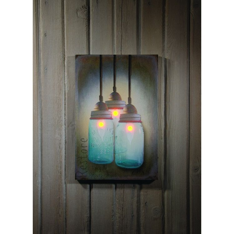 Chandelier lighted canvas print is of three hanging jar ...