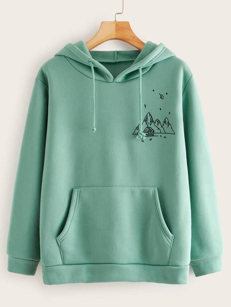 Mountain Print Kangaroo Pocket Hoodie Romwe In 2020 Drawstring Hoodie Hoodies Long Sleeve Sweatshirts