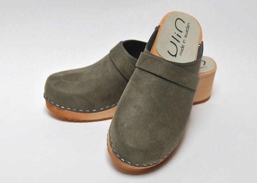 Sabots femme talon Summertime YLIN par Esprit Nordique - Bois et cuir nubuck  noir.   Sabots et sandales suédoises e8e673cfc42d
