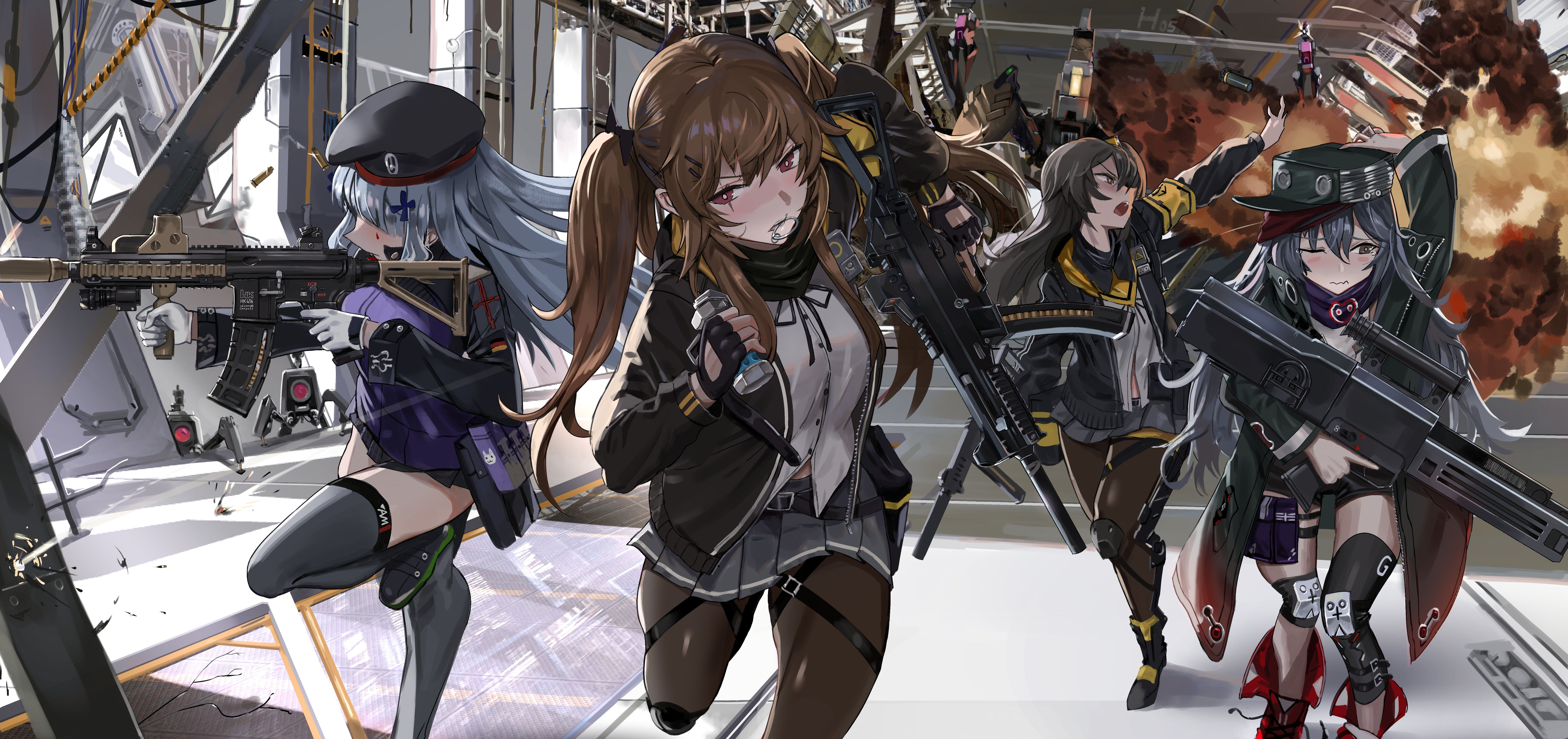 group of girls anime character explosion girls with guns