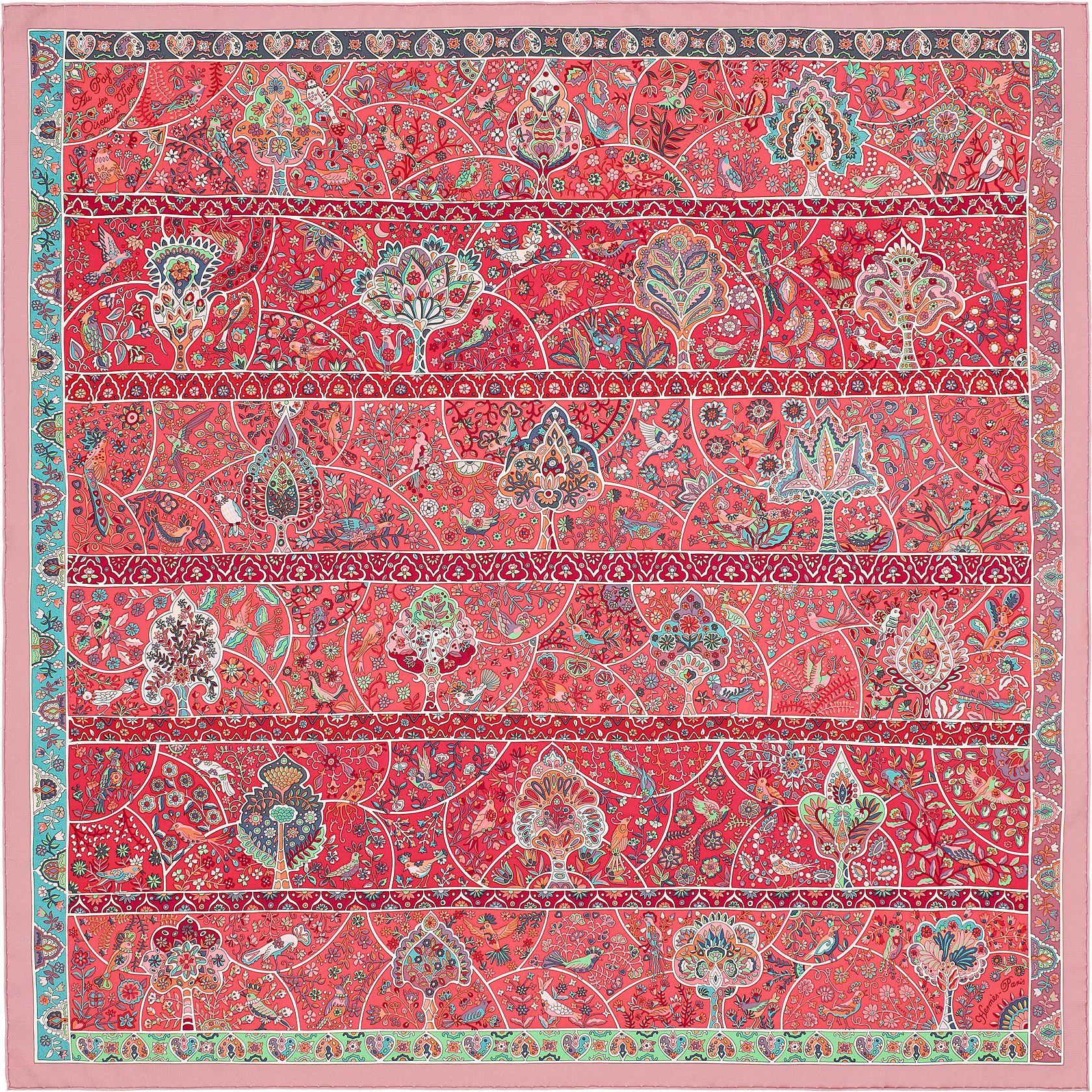 "36"" x 36"" scarf Hermès   Au Pays des Oiseaux Fleurs by Christine Henry  Spring 2016 637939bd012"