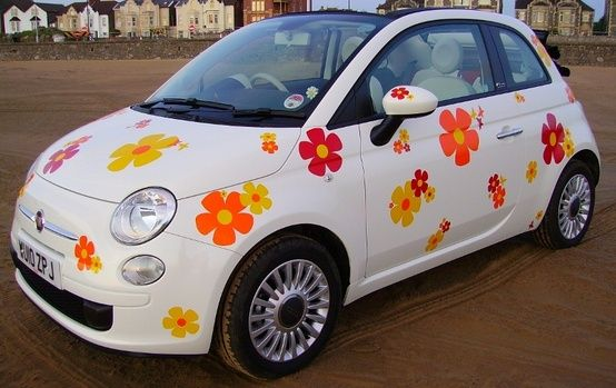 Bring me flowers in a colorful fiat · car stickerscar